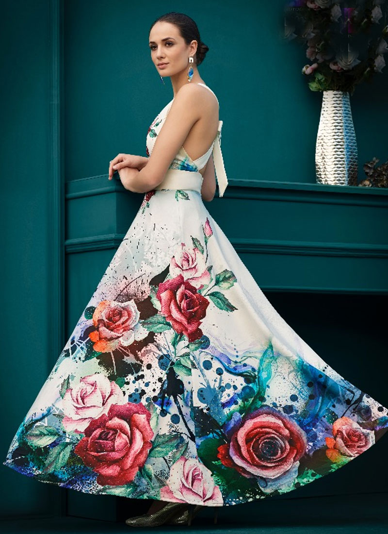 Image result for WHITE GOWN WITH MULTI COLOR FLOWERS