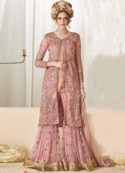Light Pink and Gold Embroidered Gharara Style Suit
