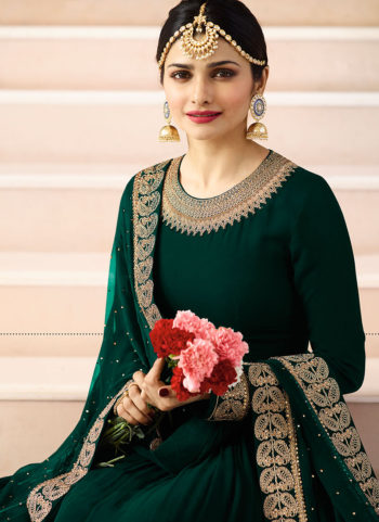 Dark Green and Gold Embroidered Anarkali Suit