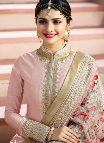 Pink and Gold Embroidered Anarkali Suit