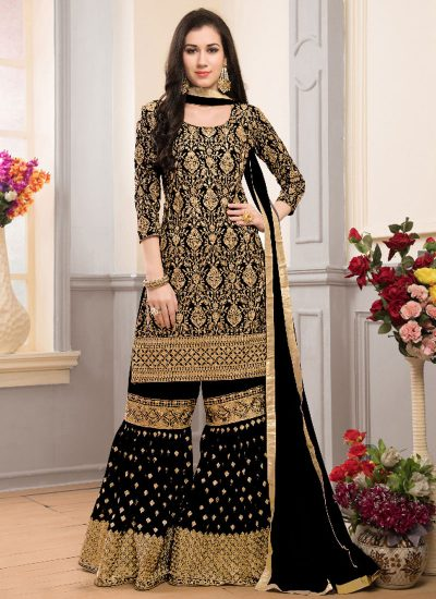 Black and Gold Embroidered Gharara Style Suit