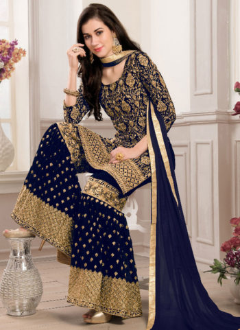 Dark Blue and Gold Embroidered Gharara Style Suit