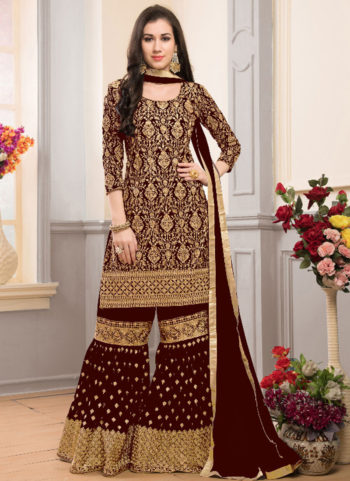 Dark Maroon and Gold Embroidered Gharara Style Suit
