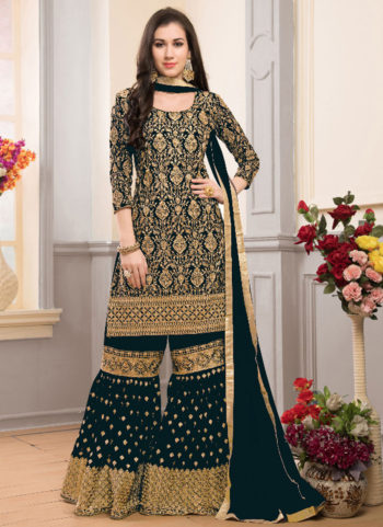 Dark Teal and Gold Embroidered Gharara Style Suit
