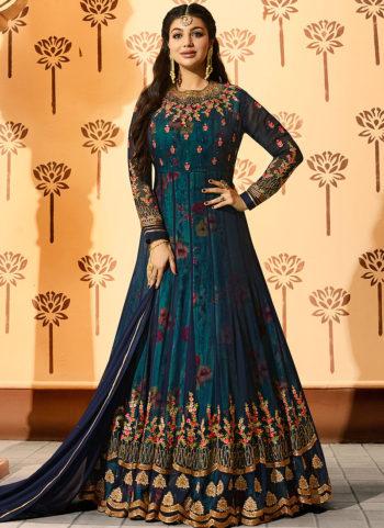Ayesha Teal Blue Embroidered + Floral Printed Anarkali