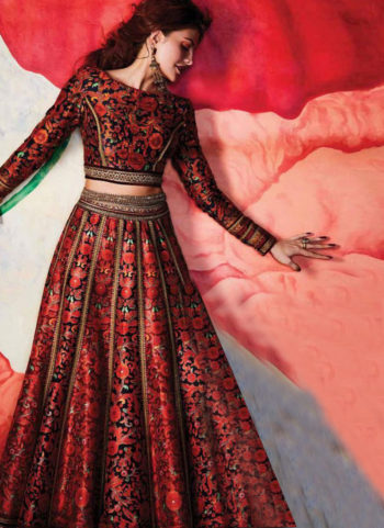 Jacqueline Inspired Red Multicolor Printed Lehenga Choli