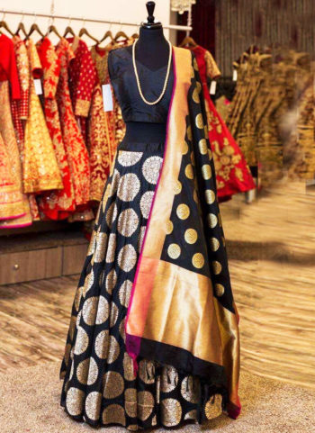 Black and Gold Brocade Lehenga