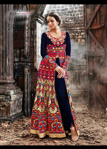 Blue and Red Embroidered Lehenga Anarkali