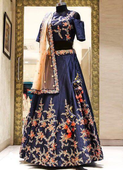 Navy Blue Embroidered Bridal Lehenga Choli
