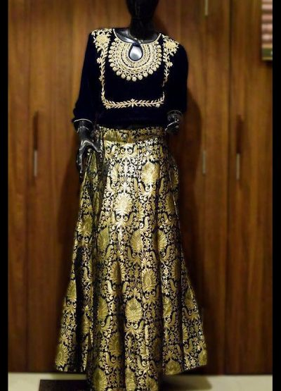 Black Brocade Lehenga Choli