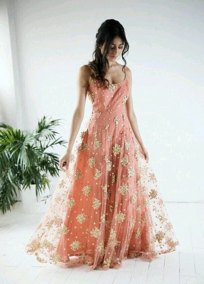 Peach and Gold Embroidered Gown