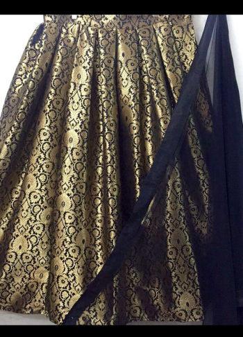 Black Designer Brocade Lehenga