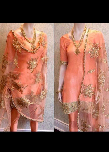 Peach and Gold Embroidered Churidar Suit