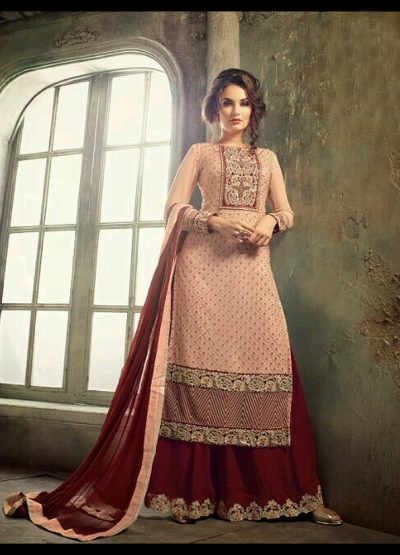 Peach and Maroon Embroidered Palazzo Suit