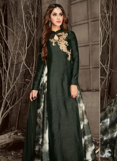 Dark Green and Gold Shaded Embroidered Anarkali