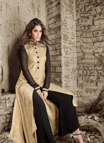 Black and Beige Embroidered Palazzo Suit