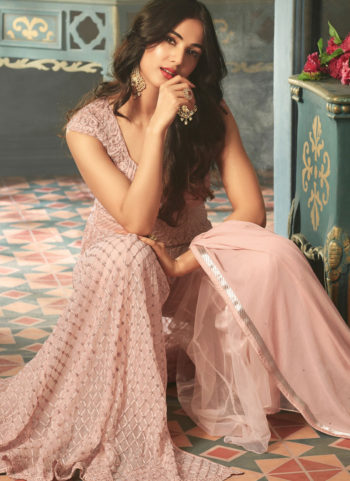 Light Pink and Gold Embroidered Palazzo Anarkali