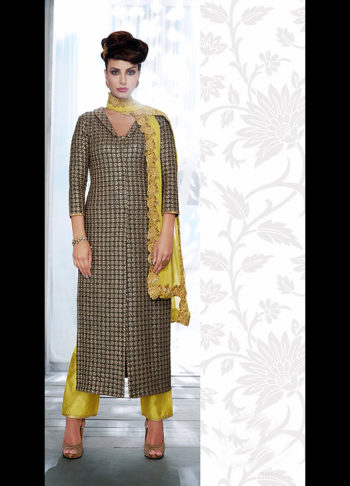 Grey and Green Embroidered Straight Cut Suit