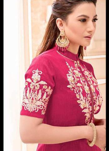 Gauhar Khan Red Embroidered Anarkali