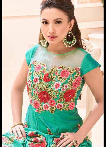 Gauhar Khan Sea Green Embroidered Anarkali
