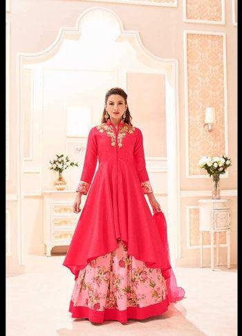Gauhar Khan Red and Pink Embroidered Lehenga Anarkali