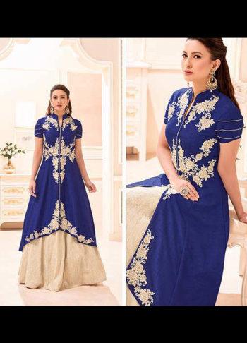 Gauhar Khan Blue and Cream Embroidered Lehenga Anarkali
