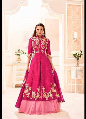 Gauhar Khan Pink Embroidered Lehenga Anarkali