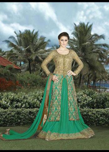 Beige and Green Embroidered Lehenga Anarkali