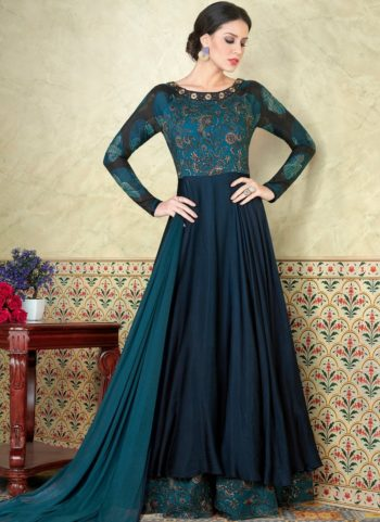 Peacock Blue Embroidered Satin Anarkali