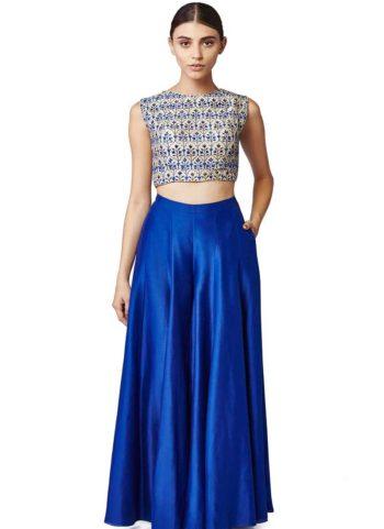 Royal Blue and White Embroidered Lehenga Choli