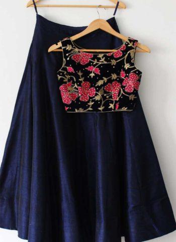 Navy Blue Floral Embroidered Lehenga Choli