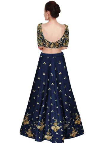 Navy Blue and Gold Embroidered Lehenga Choli