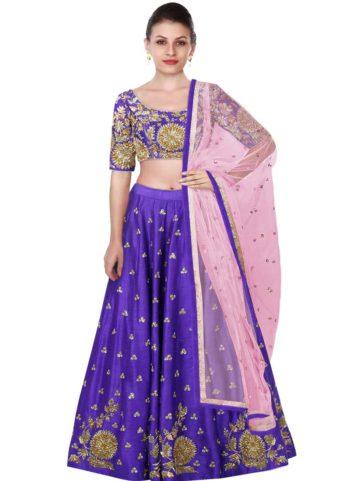 Purple and Gold Embroidered Lehenga Choli