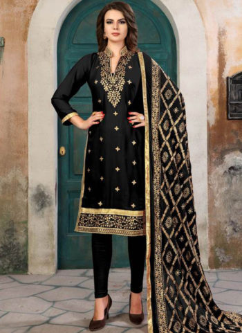 Black and Gold Embroidered Georgette Straight Suit