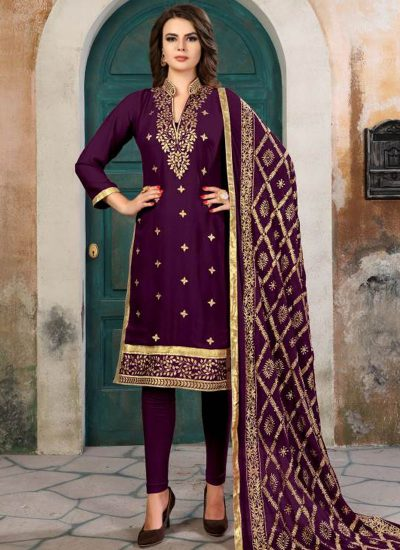 Wine and Gold Embroidered Georgette Straight Suit