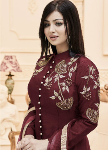 Ayesha Maroon Embroidered Straight Cut Suit