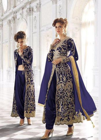 Dark Blue and Gold Embroidered Jacket Style Suit/Lehenga