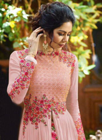 Pink Floral Embroidered  Anarkali Lehenga
