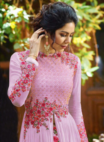 Light Purple  Floral Embroidered  Anarkali  Lehenga