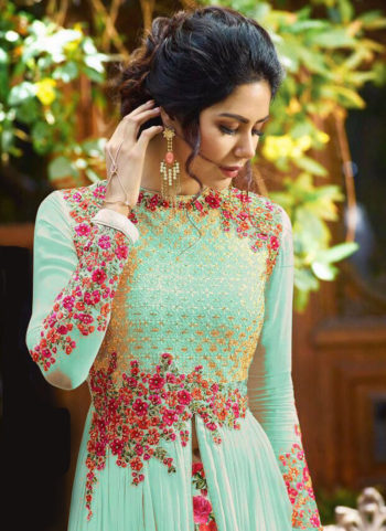 Mint Green  Floral Embroidered  Anarkali  Lehenga