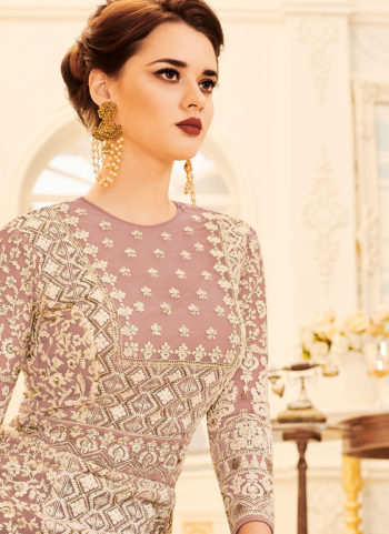 Dusty Pink and Gold Embroidered Anarkali