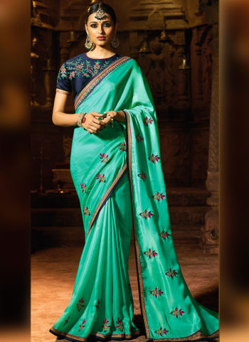 Sea Green and Blue Embroidered Saree