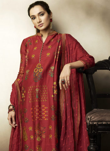 Red Embroidered Silk Palazzo Suit