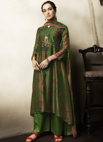 Green Embroidered Silk Palazzo Suit