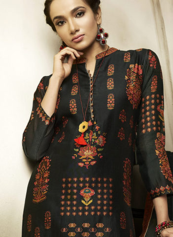 Black Embroidered Silk Palazzo Suit