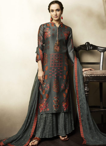 Dark Grey Embroidered Silk Palazzo Suit