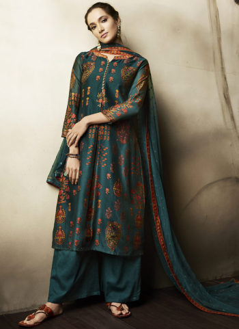 Teal Embroidered Silk Palazzo Suit