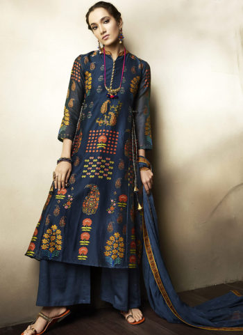 Blue Embroidered Silk Palazzo Suit