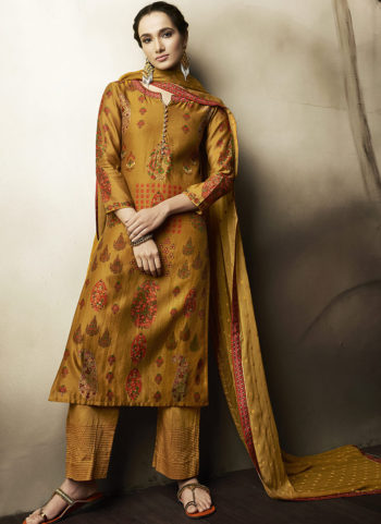 Mustard Embroidered Silk Palazzo Suit