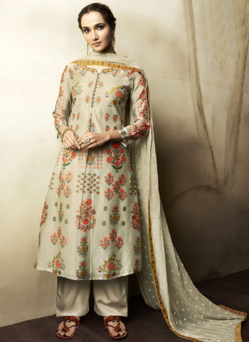 Light Grey Embroidered Silk Palazzo Suit